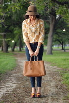 saffiano bag Prada bag - cloak with bow Nordstrom hat - JCrew blouse