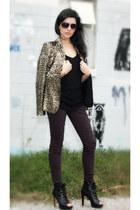 tan Zara blazer - black Nine West boots - maroon JBrand jeans
