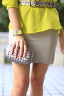 Beige-tan-mini-skirt-bcbg-skirt-yellow-bcbg-blouse