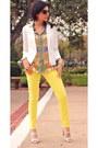 Yellow-jcrew-jeans-white-white-blazer-blazer-blue-ysl-artsy-ring-ysl-ring