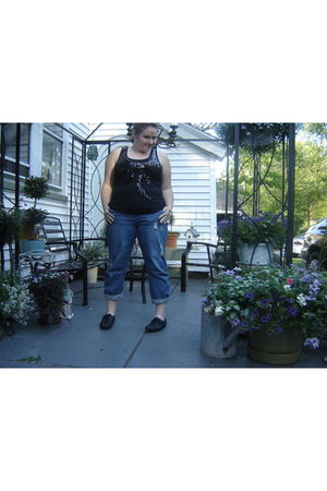 black Walmart top - blue Fashion Bug jeans - black Aldo shoes