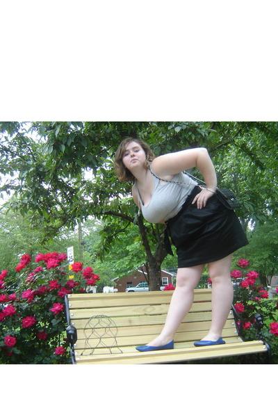 black Target skirt - blue Target shoes - silver necklace - gray top - black purs