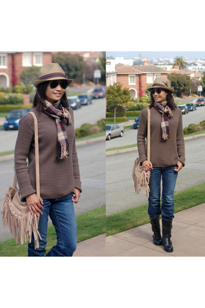 Armani Exchange sweater - Chanel boots - a&f jeans