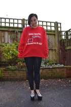 black Primark leggings - black Kurt Geiger heels - red vintage jumper