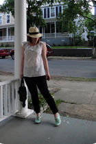 JCrew hat - Anthropologie top - JCrew pants - Pour La Victoire shoes - balenciag