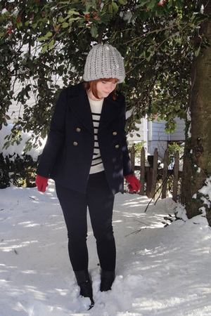 Urban Outfitters hat - JCrew coat - Topshop sweater - Urban Outfitters jeans - F