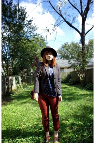 JCrew pants - benetton blazer - vintage blouse - Steve Madden loafers