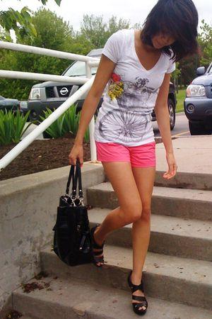 pink JCrew shorts - white JCrew shirt - black coach purse - black Carlos Santana