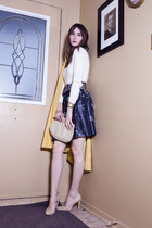 yellow escada coat - periwinkle ADAM skirt