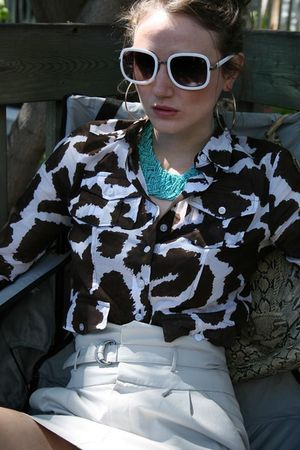 white Chloe glasses - brown liz claiborne skirt - gray Club Monaco skirt