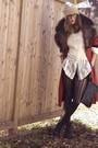 Red-vintage-coat-black-nine-west-shoes-black-wilfred-shorts-white-ralph-la