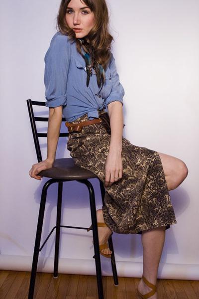 tawny Narcisco Rodriguez sandals - brown chicshopca Vintage skirt - sky blue vin