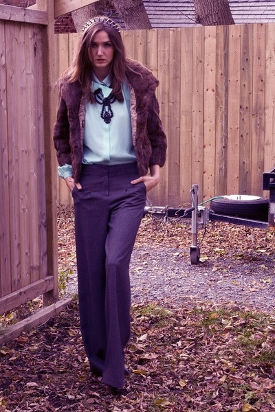 charcoal gray Bedo pants - aquamarine vintage blouse - brown vintage coat