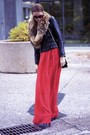Red-mango-coat-black-sandra-angelozzi-jacket-black-valentino-purse