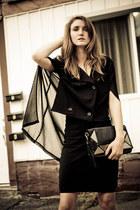 black romwe cape - black Club Monaco dress