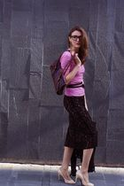 beige BCBG shoes - black vintage skirt - pink pink tartan sweater