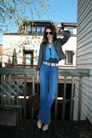 blue Rich & Skinny jeans - beige BCBG shoes - gray Express jacket - blue Ralph L