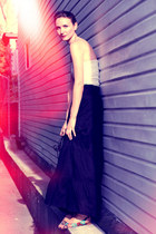 maroon YSL purse - white Jacob top - black Zara skirt - tawny Scarpasa sandals