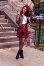 Red-vintage-skirt-black-aldo-boots-gray-express-blazer-white-h-m-shirt