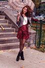Red-vintage-skirt-black-aldo-boots-gray-express-blazer-white-h-m-shirt