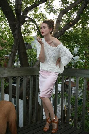 white American Apparel shirt - pink vintage skirt - brown Narcisco Rodriguez sho