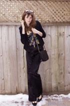 black pink tartan blazer - black Club Monaco pants