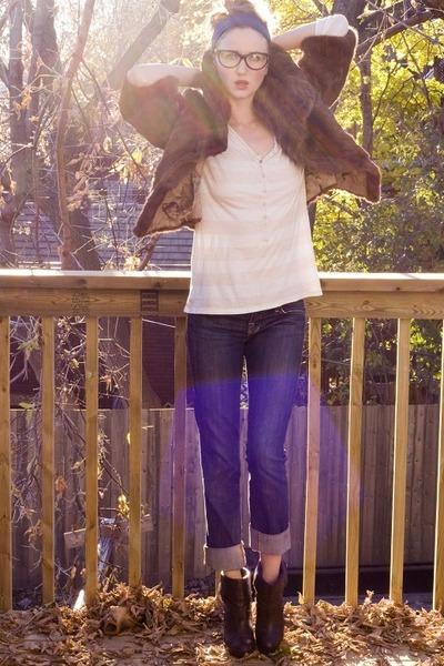blue Rock&Republic jeans - neutral Old Navy shirt - brown vintage jacket