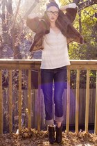 blue Rock&Republic jeans - neutral Old Navy shirt - brown vintage jacket