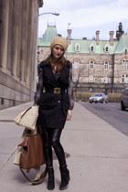 black Zara boots - black Halston jacket - black Halston pants
