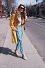 Mustard-escada-coat-sky-blue-vintage-pants-white-club-monaco-blouse