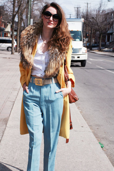 mustard escada coat - sky blue vintage pants - white Club Monaco blouse
