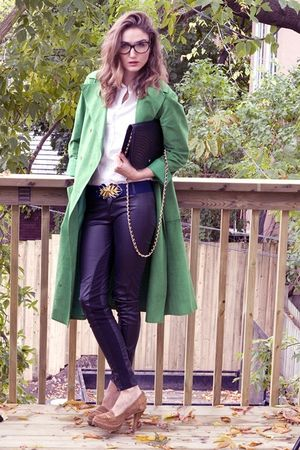beige Michael Kors shoes - black Zara pants - green Halston coat - white Club Mo
