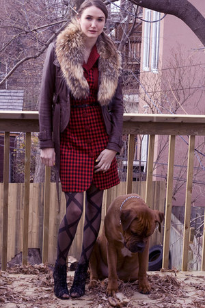 ruby red ann taylor dress - brown danier jacket - black Aldo shoes