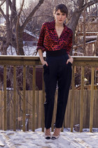 off white Prada shoes - navy Anna Molinari pants - crimson vintage shirt
