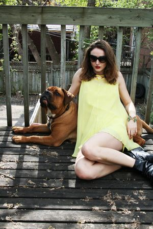 black Aldo boots - yellow vintage dress