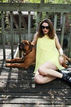 black Aldo boots - yellow vintage dress