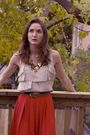 Red-vintage-skirt-brown-aldo-boots-beige-veromoda-top-brown-baia-blue-labe