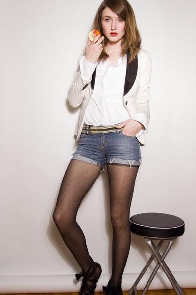 ivory Club Monaco blazer - navy Miss Sixty shorts - white pink tartan blouse