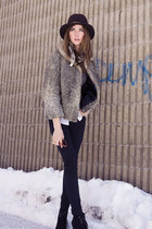 black Zara boots - silver vintage coat - black BCBG pants
