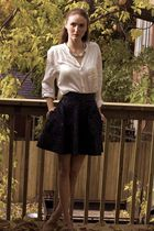 white H&M blouse - black lustre skirt - beige Aldo shoes