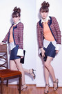 Brick-red-pink-tartan-blazer-navy-lustre-skirt
