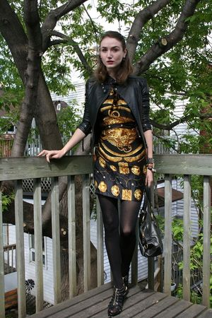 black Sandra Angelozzi jacket - black vintage Hermes dress