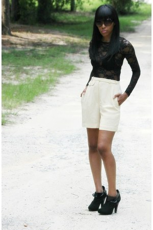black lace top - black Lumiani shoes - eggshell vintage shorts