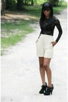 black lace top - black Lumiani shoes - eggshell vintage shorts