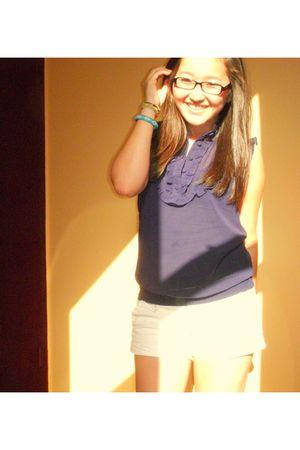 purple Forever 21 blouse - white Forever 21 shorts