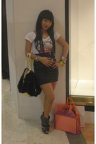 unbranded shirt - versace skirt - belle boots - babyphat accessories