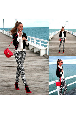 red patent MNG bag - Zara pants - Sheike blouse - red suede RMK pumps