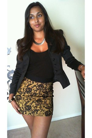 H&M skirt - H&M blazer - H&M top - Forever 21 earrings - The Limited watch
