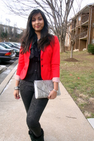 H&amp;M jeans - winter Dansko boots - red H&amp;M blazer - H&amp;M bag