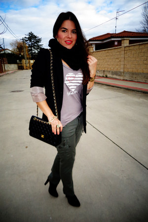 black H&M blazer - black Chanel bag - dark green Diesel pants